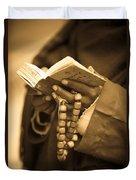 Man Holding Prayer Book Ethiopia Duvet Cover