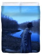 Man In Fedora By River Duvet Cover