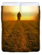Man In Field At Sunset Duvet Cover