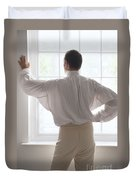 Man In Historical Shirt At The Window Duvet Cover