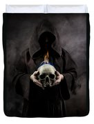 Man In The Hooded Cloak Holding Burning Human Skull In His Hand Duvet Cover