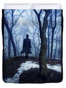 Man In Top Hat Walking Through Foggy Woods Duvet Cover
