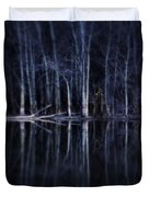 Man In Woods By River Duvet Cover