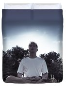 Man Meditating In The Nature During Sunrise Duvet Cover