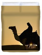 Man On Camel At Dusk Near The Pyramids Duvet Cover