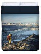 Man Overlooking Olympus Range Antarctica Duvet Cover
