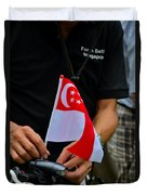 Man Plants Singapore Flag On Bicycle Duvet Cover