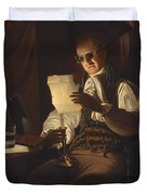 Man Reading By Candlelight Duvet Cover