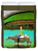 Man Riding A Carabao Duvet Cover
