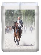 Man Riding A Horse At Kashgar Sunday Market China Duvet Cover
