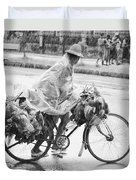 Man Riding Bicycle Carrying Chickens Duvet Cover
