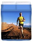 Man Running In Moab, Utah Duvet Cover