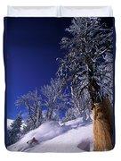Man Skiing Through Trees In Fresh Duvet Cover