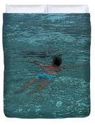 Man Swimming Duvet Cover