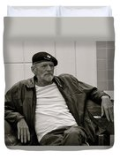 Man With Beret Duvet Cover