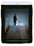 Man With Case At Night On Stairs Duvet Cover