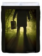 Man With Case In Fog Duvet Cover