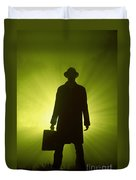 Man With Case In Green Light Duvet Cover
