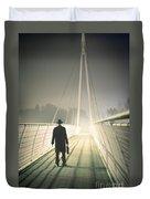 Man With Case On Bridge Duvet Cover