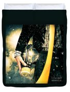 Man With Gas Mask. New Beginning. Skys The Limit Duvet Cover