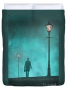 Man With Hat And Overcoat Carrying A Briefcase In Fog Duvet Cover