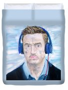 Man With Headphones Duvet Cover
