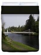 Man With Kayak Crossing Over Small Bridge From Ness Islands Duvet Cover