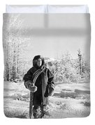 Man With Parka And Snowshoes Duvet Cover
