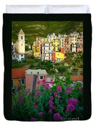 Manarola Flowers And Houses Duvet Cover