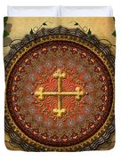 Mandala Armenian Cross Sp Duvet Cover by Bedros Awak