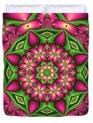 Mandala Green And Pink Duvet Cover