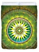 Mandala Green Duvet Cover by Bedros Awak