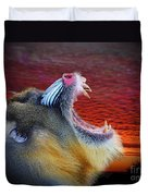 Mandrill Roaring At The End Of A Day  Duvet Cover