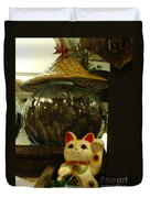 Maneki Neko Japanese Beckoning Money Cat 02 Duvet Cover
