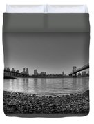 Manhattan And Brooklyn Bridge Fisheye Bw Duvet Cover