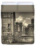 Manhattan Bridge Peeking Through Duvet Cover