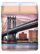 Manhattan Bridge Under A Purple Sunset Duvet Cover