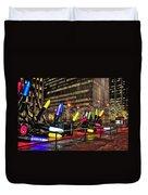 Manhattan Holiday Decorations Duvet Cover