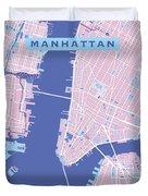 Manhattan Map Graphic Duvet Cover