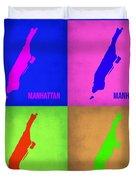 Manhattan Pop Art Map 1 Duvet Cover by Naxart Studio