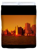 Manhattan Skyline At Sunset Duvet Cover