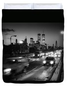 Manhattan Skyline Dusk 1980s Duvet Cover