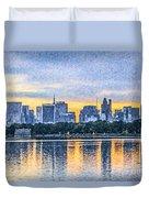 Manhattan Skyline From Central Park Reservoir Nyc Usa Duvet Cover