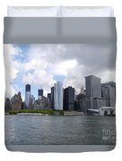 Manhattan Skyline From The Hudson River Duvet Cover
