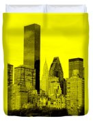 Manhattan Skyline In Yellow Duvet Cover