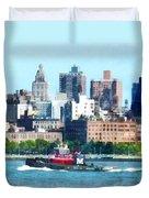Manhattan - Tugboat Against Manhattan Skyline Duvet Cover