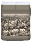 Manitou To The South In Snow Close Up Duvet Cover