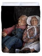 Mannequin Old Couple In Shop Window Display Color Photo Duvet Cover