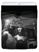 Mannequins In Storefront Window Display With Pizza Sign Duvet Cover