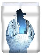 Man's Profile Silhouette With Old City Streets Duvet Cover